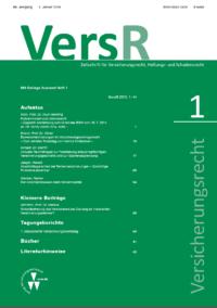 Versicherungsrecht – VersR - 2016-0