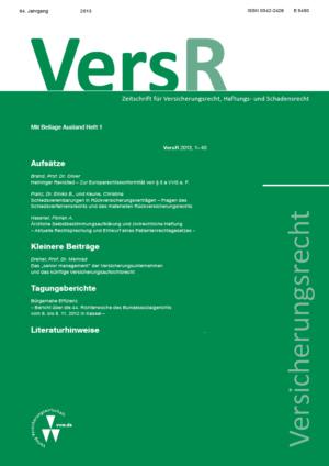 Versicherungsrecht – VersR 2015-0