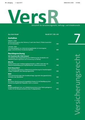 Versicherungsrecht – VersR - 2017-0