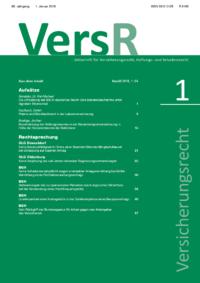 Versicherungsrecht – VersR - 2018-0