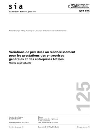 SIA 125 - Variations de prix dues au renchérissement pour les prestations des entreprises générales et des entreprises totales-0