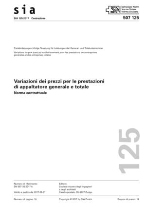 SIA 125 - Variazioni dei prezzi per le prestazioni di appaltatore generale e totale-0