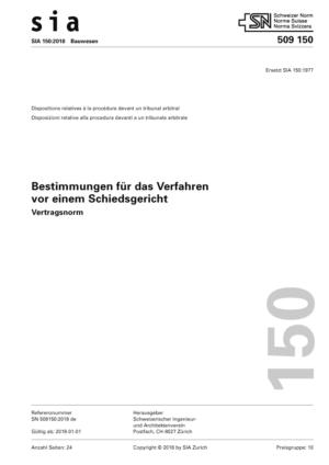 SIA 150 - Bestimmungen für das Verfahren vor einem Schiedsgericht-0