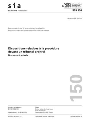 SIA 150 - Dispositions relatives à la procédure devant un tribunal arbitral-0