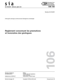 SIA 106 - 2019 Règlement concernant les prestations et les honoraires des géologues-0